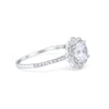 Floral Wedding Engagement Ring Round Simulated Cubic Zirconia 925 Sterling Silver