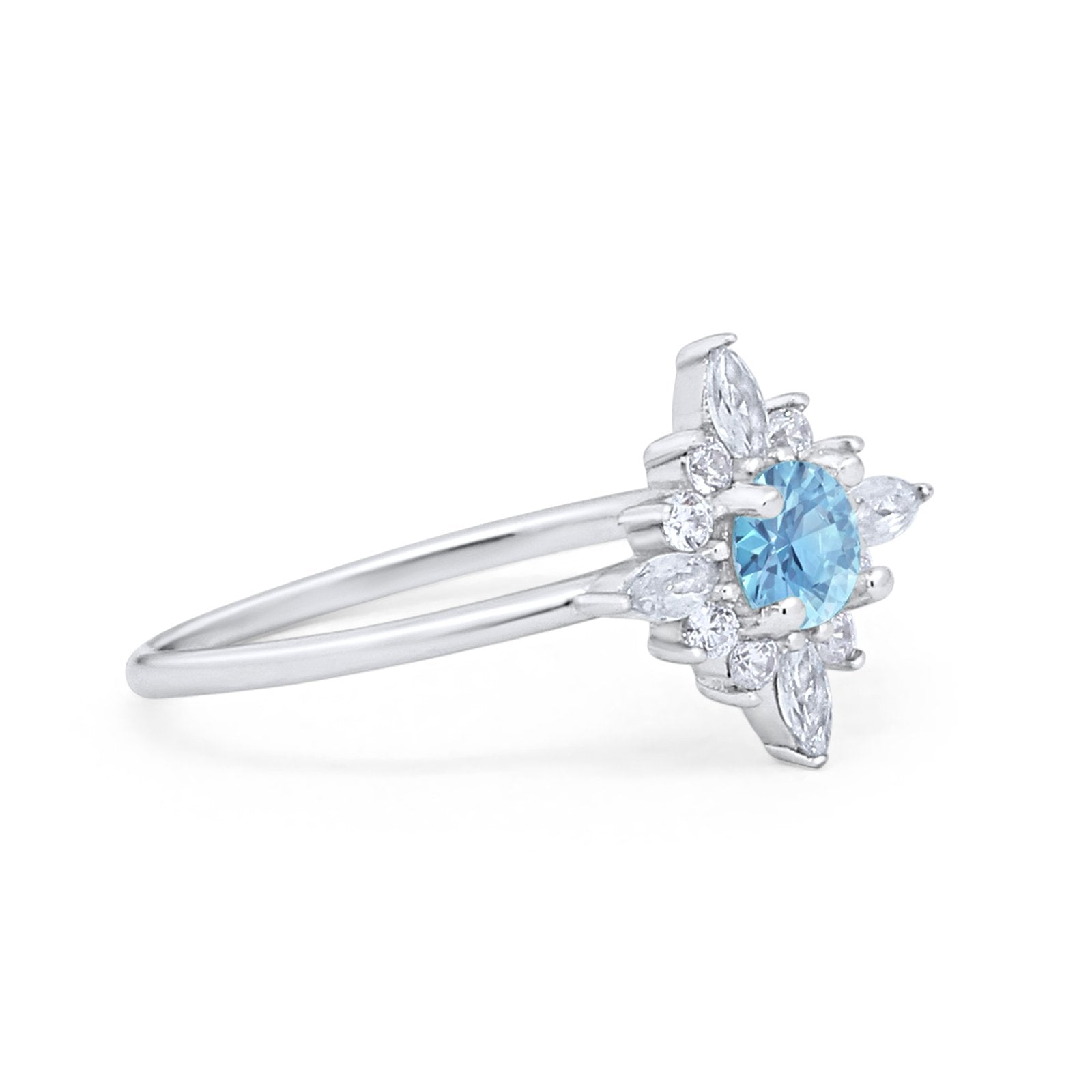 Cluster Engagement Ring Round Simulated Aquamarine CZ 925 Sterling Silver