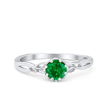 Art Deco Wedding Ring Simulated Green Emerald CZ 925 Sterling Silver