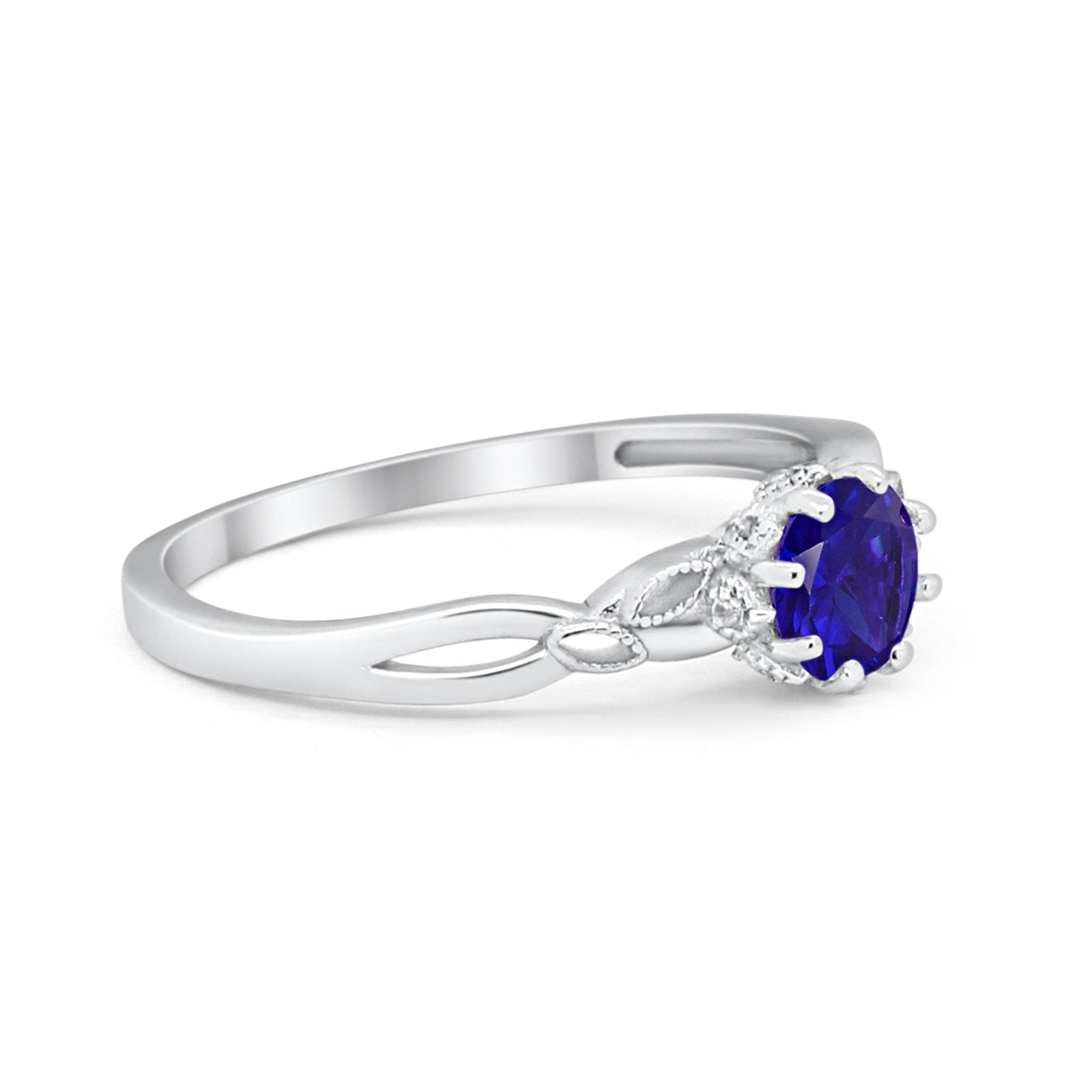 Art Deco Wedding Ring Simulated Blue Sapphire CZ 925 Sterling Silver