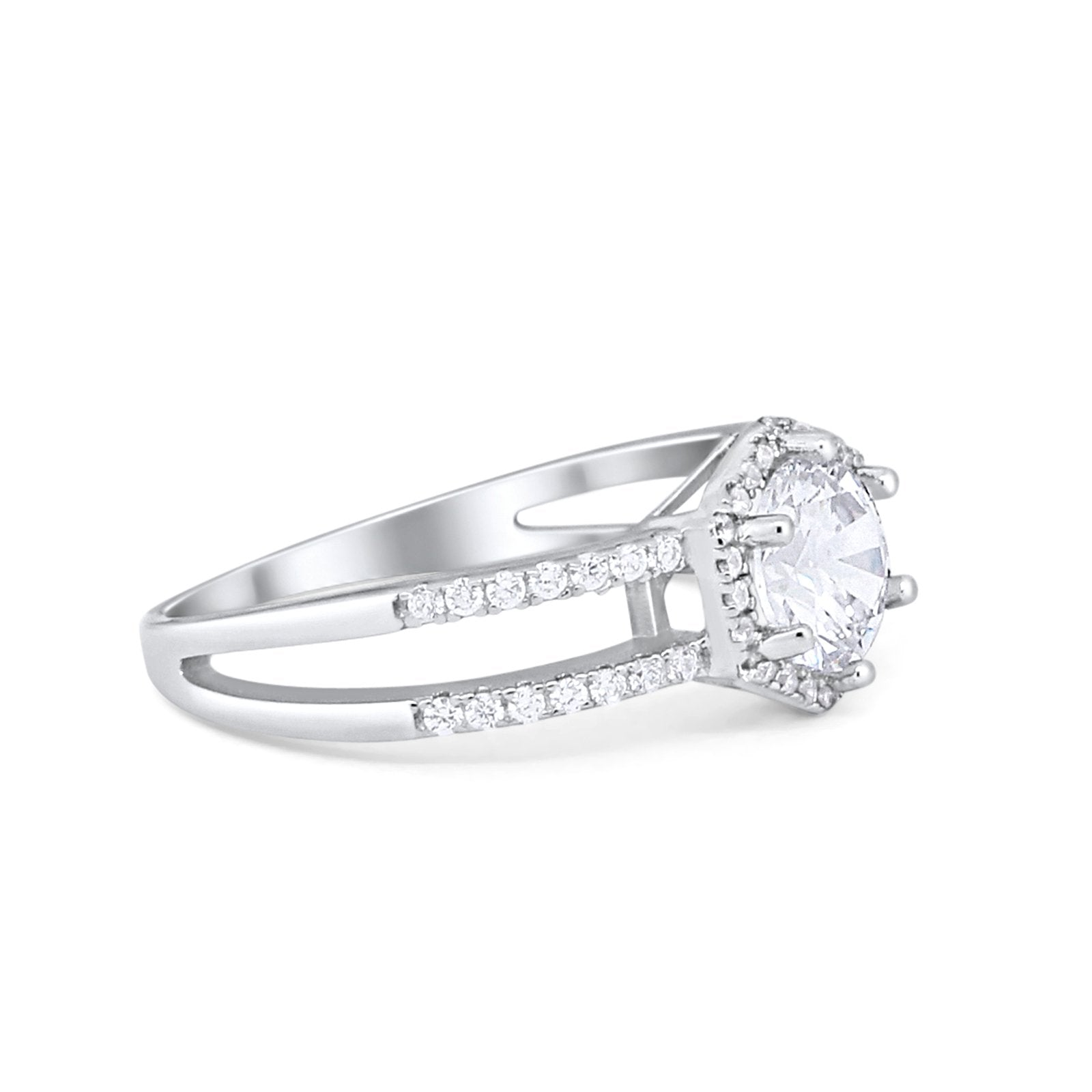 Split Shank Wedding Ring 925 Sterling Silver 6 Prong Simulated CZ