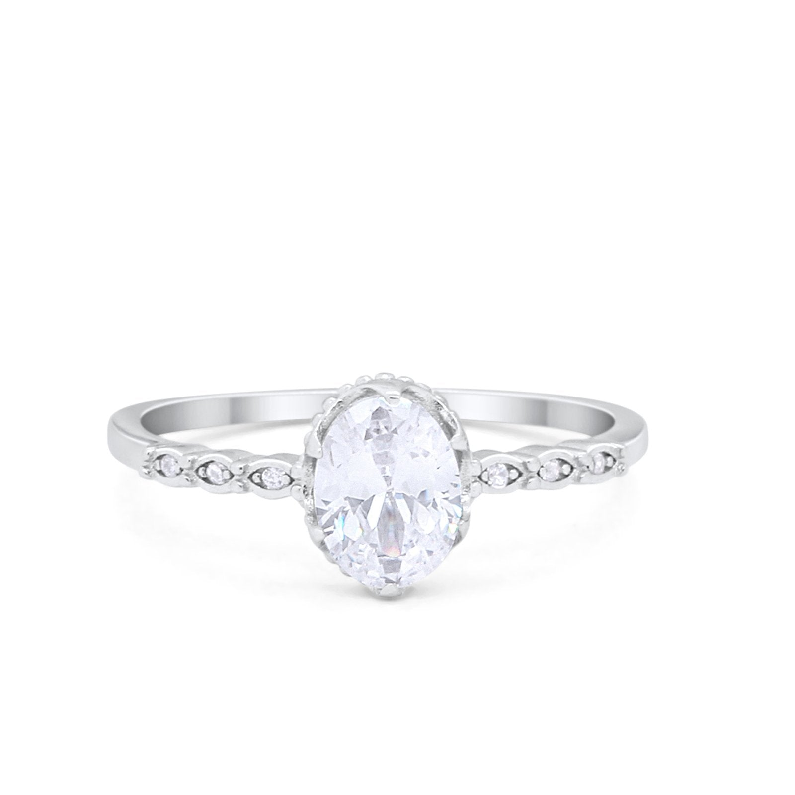 Oval Art Style Engagement Ring Simulated Cubic Zirconia 925 Sterling Silver