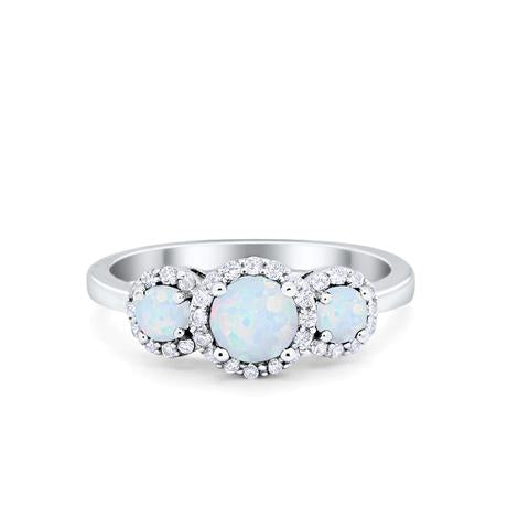 Halo Three Stone Created White Opal Wedding Ring 925 Sterling Silver