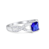Engagement Ring Princess Cut Simulated Blue Sapphire CZ 925 Sterling Silver