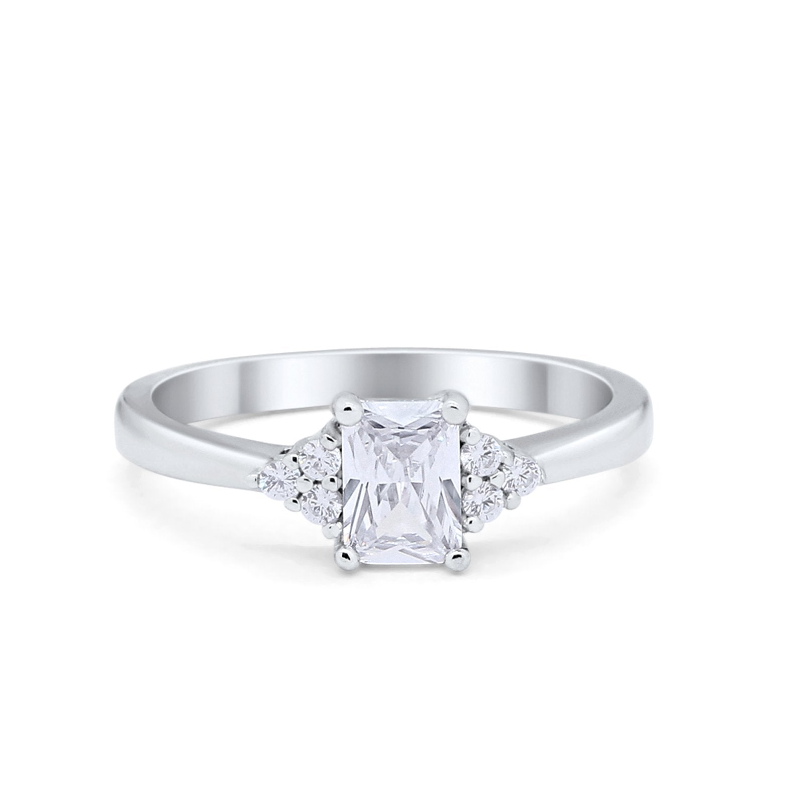 Radiant Cut Engagement Ring 925 Sterling Silver Simulated CZ