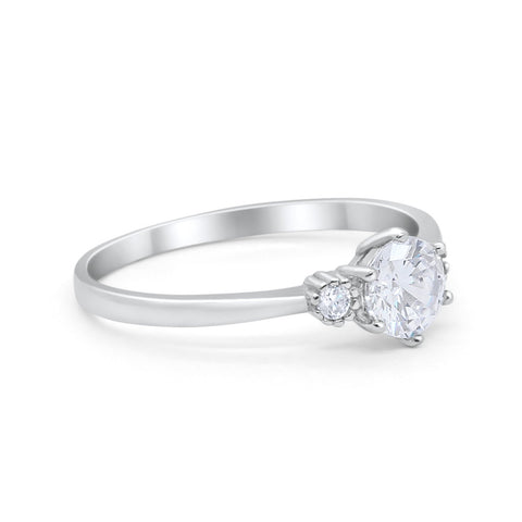 Three Stone Art Deco Wedding Engagement Ring Round Simulated Cubic Zirconia 925 Sterling Silver