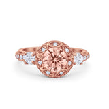 Art Deco Engagement Ring Rose Tone, Simulated Morganite CZ 925 Sterling Silver