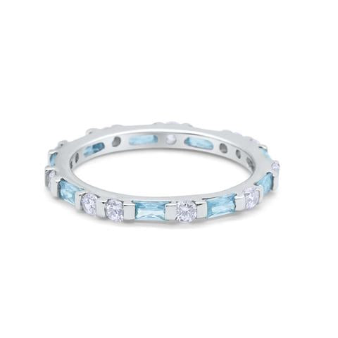 Art Deco Stackable Baguette Simulated Aquamarine Cubic Zirconia Wedding Ring 925 Sterling Silver