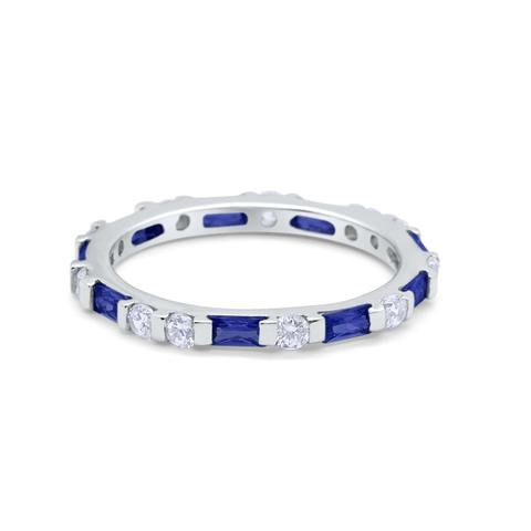 Art Deco Baguette Simulated Blue Sapphire Cubic Zirconia Wedding Ring 925 Sterling Silver
