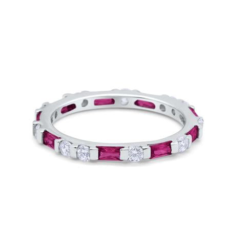 Art Deco Baguette Simulated Ruby Cubic Zirconia Wedding Ring 925 Sterling Silver
