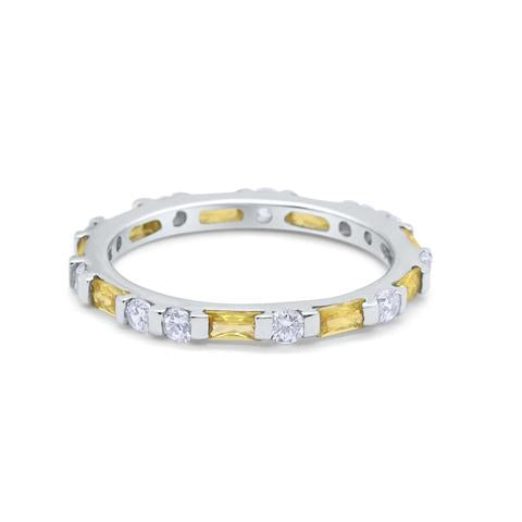 Art Deco Baguette Simulated Yellow Cubic Zirconia Wedding Ring 925 Sterling Silver