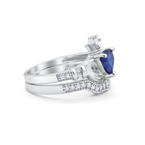 Claddagh Bridal Ring Band Heart Round Simulated Blue Sapphire CZ 925 Sterling Silver