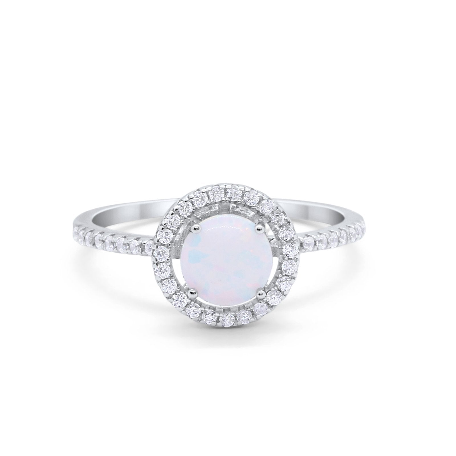Halo  Engagement Ring Round Created White Opal 925 Sterling Silver