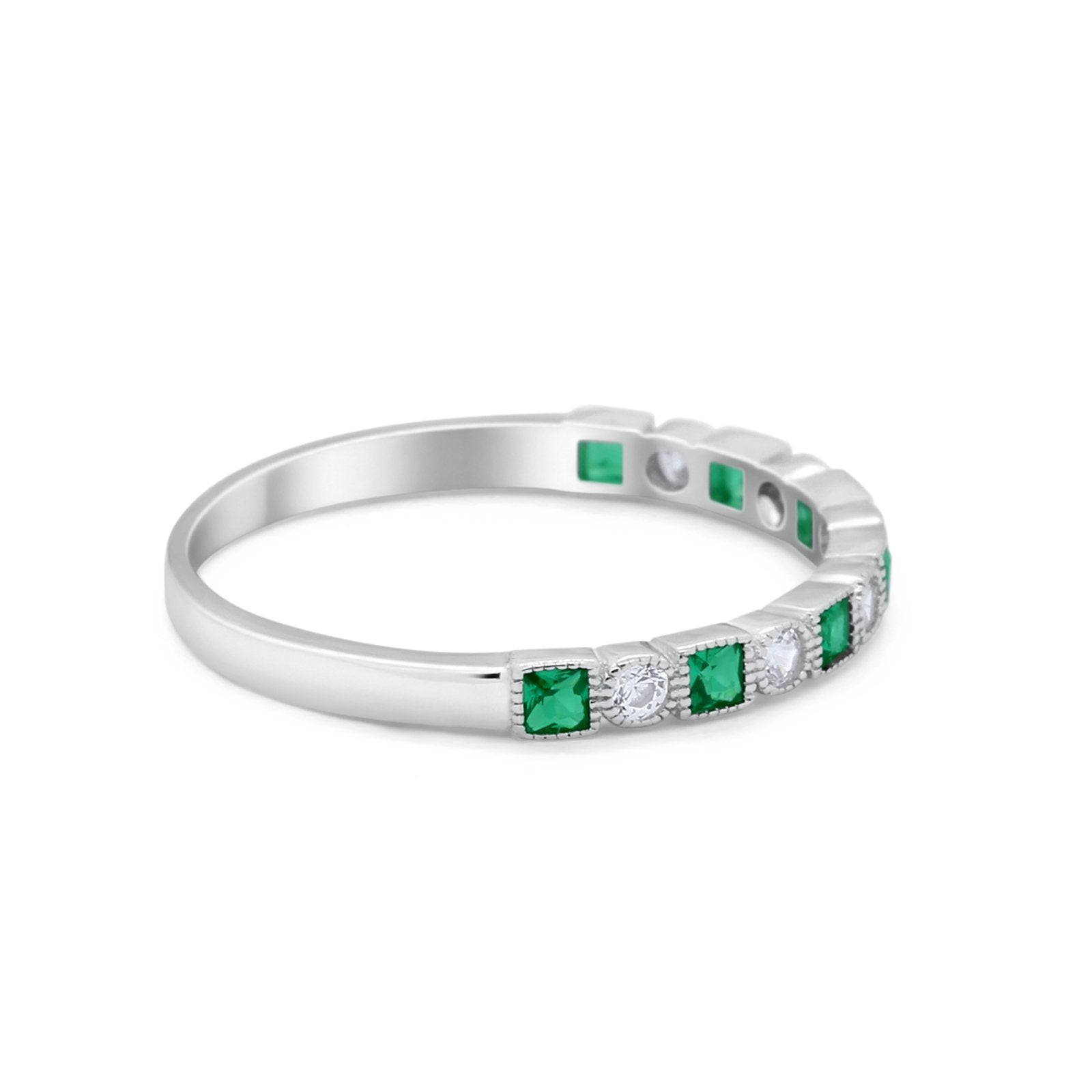 Half Eternity Wedding Ring Round Simulated Green Emerald CZ 925 Sterling Silver