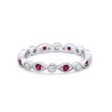 Eternity Stackable Wedding Marquise Simulated Ruby CZ 925 Sterling Silver