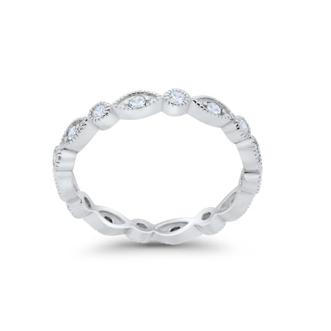 Full Eternity Stackable Wedding Band Marquise Round Simulated CZ 925 Sterling Silver