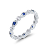 Eternity Stackable Wedding Marquise Simulated Blue Sapphire CZ 925 Sterling Silver
