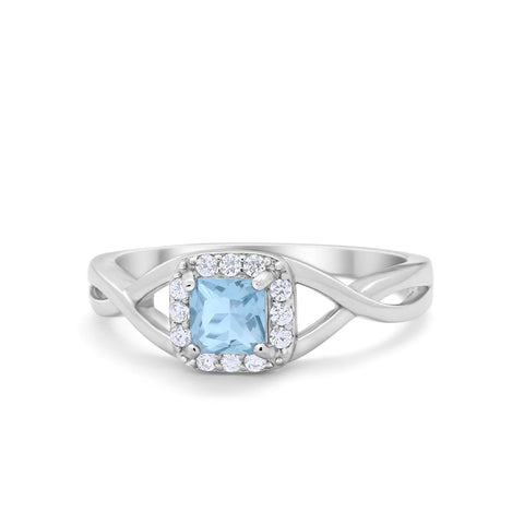 Solitaire Infinity Shank Ring Princess Cut Simulated Round Aquamarine CZ 925 Sterling Silver