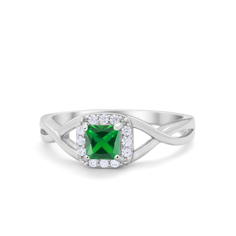 Solitaire Infinity Shank Ring Princess Cut Simulated Round Green Emerald CZ 925 Sterling Silver