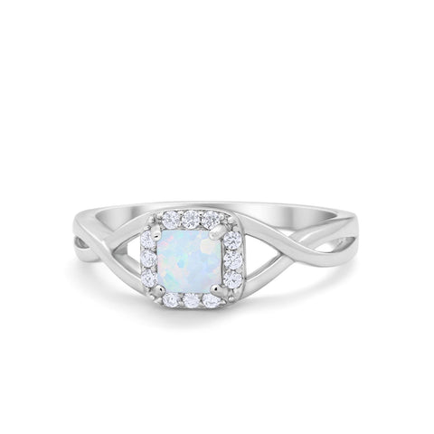 Solitaire Infinity Shank Ring Princess Cut Simulated Round CZ Lab White Opal 925 Sterling Silver