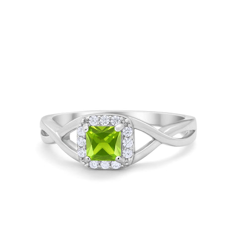 Solitaire Infinity Shank Ring Princess Cut Simulated Round Peridot CZ 925 Sterling Silver