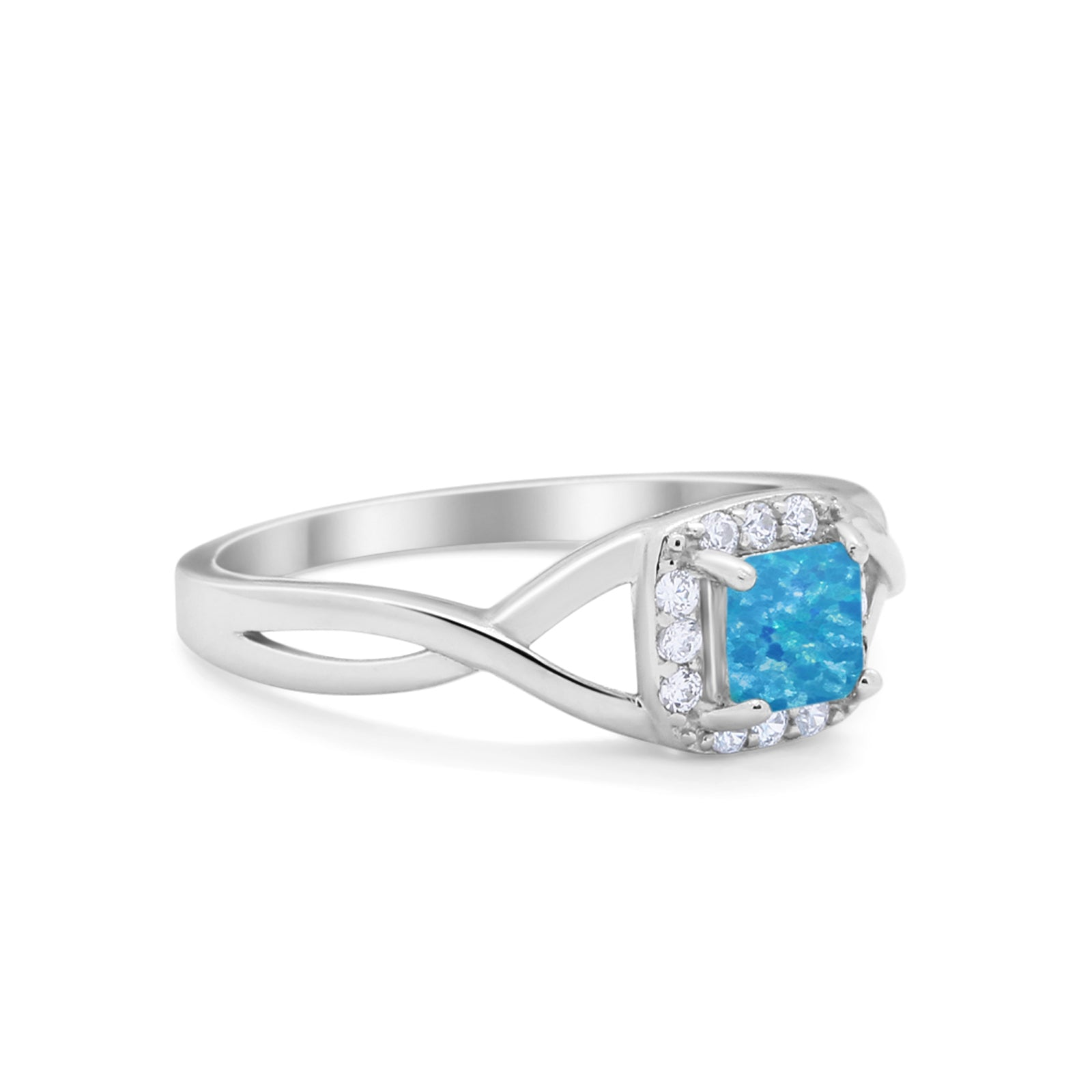 Solitaire Infinity Shank Ring Princess Cut Lab Created Blue Opal 925 Sterling Silver