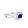 Solitaire Infinity Shank Ring Princess Cut Simulated Round Blue Sapphire CZ 925 Sterling Silver
