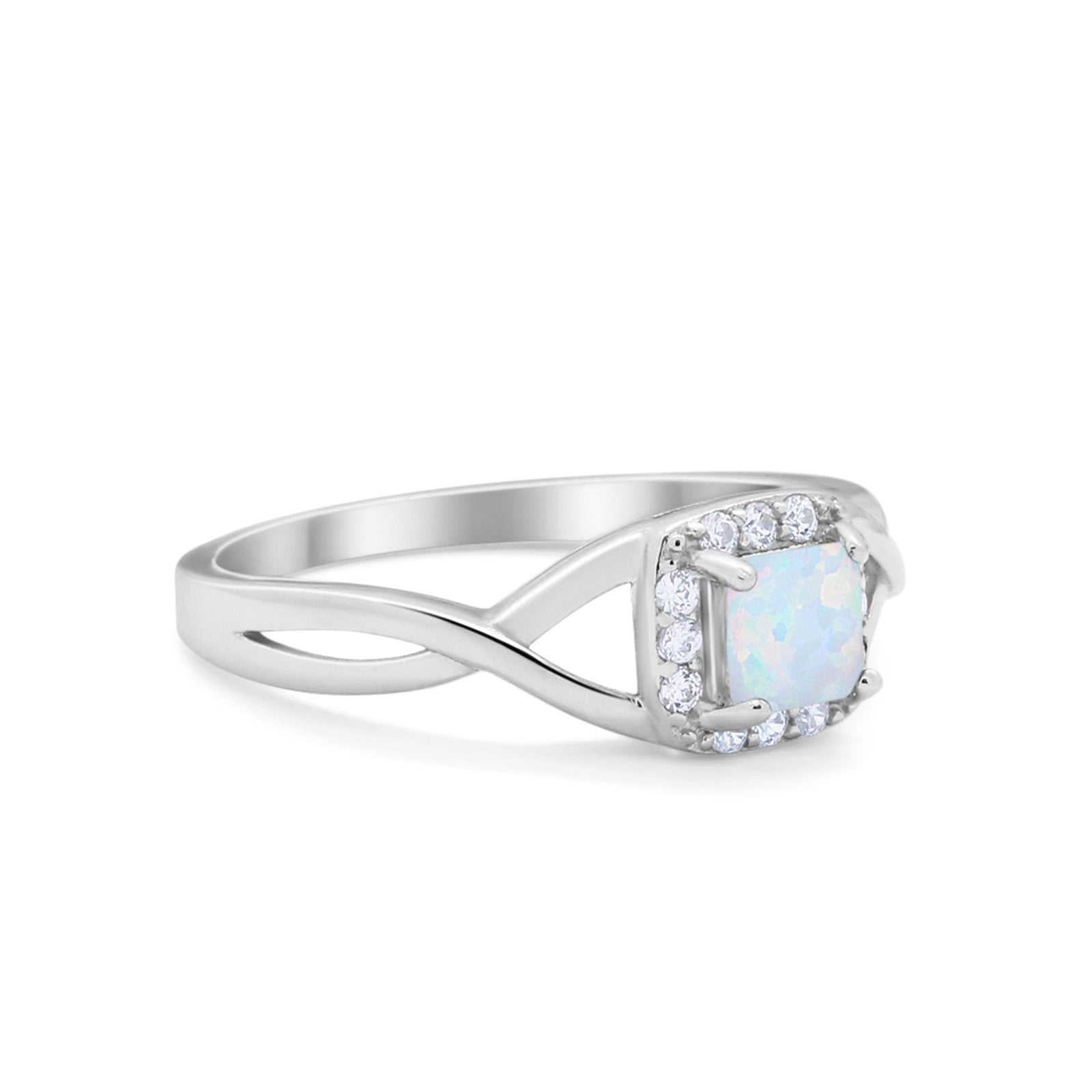 Solitaire Infinity Shank Ring Princess Cut Lab Created White Opal 925 Sterling Silver