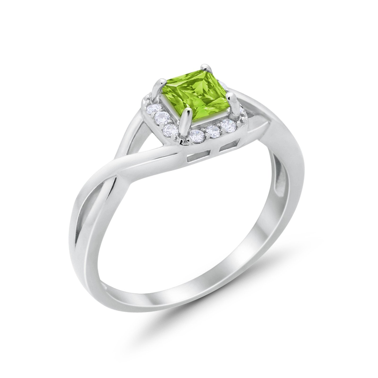 Solitaire Infinity Shank Ring Princess Cut Simulated Peridot CZ 925 Sterling Silver