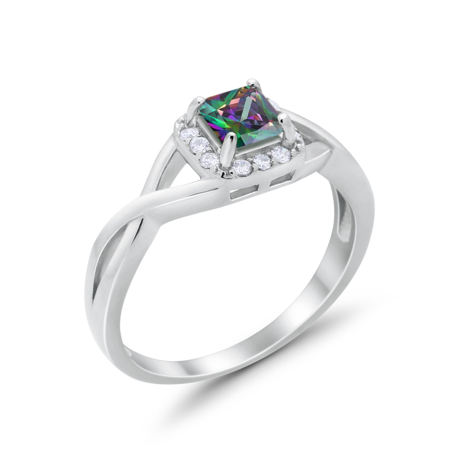 Solitaire Infinity Shank Ring Princess Cut Simulated Rainbow CZ 925 Sterling Silver