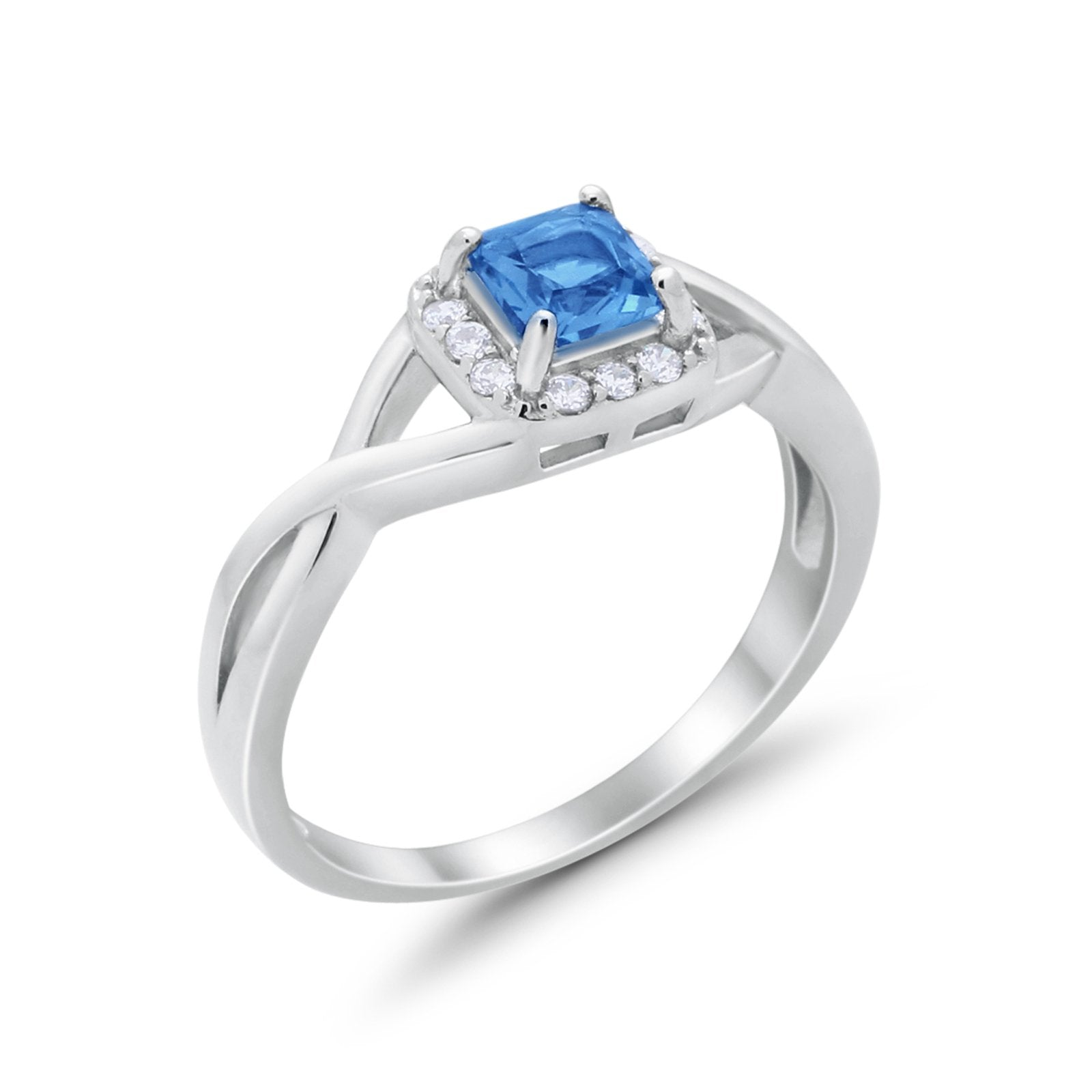 Solitaire Infinity Shank Ring Princess Cut Simulated Blue Topaz CZ 925 Sterling Silver