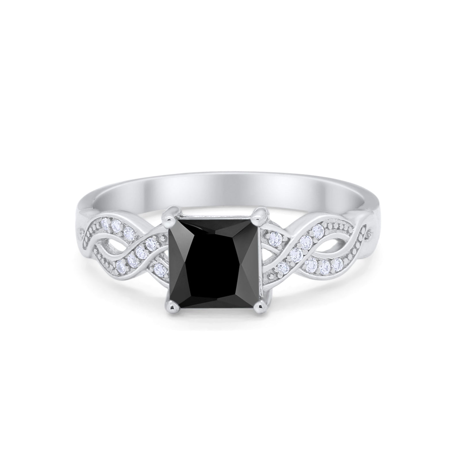 Solitaire Infinity Shank Ring Princess Cut Simulated Black CZ 925 Sterling Silver