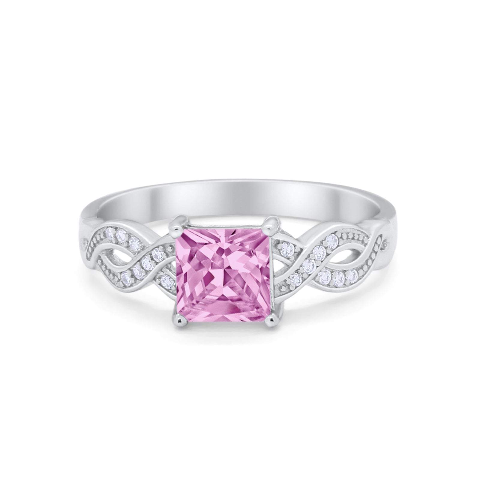 Solitaire Infinity Shank Ring Princess Cut Simulated Pink CZ 925 Sterling Silver