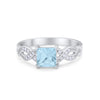 Solitaire Infinity Shank Ring Princess Round Simulated Aquamarine Cubic Zirconia 925 Sterling Silver