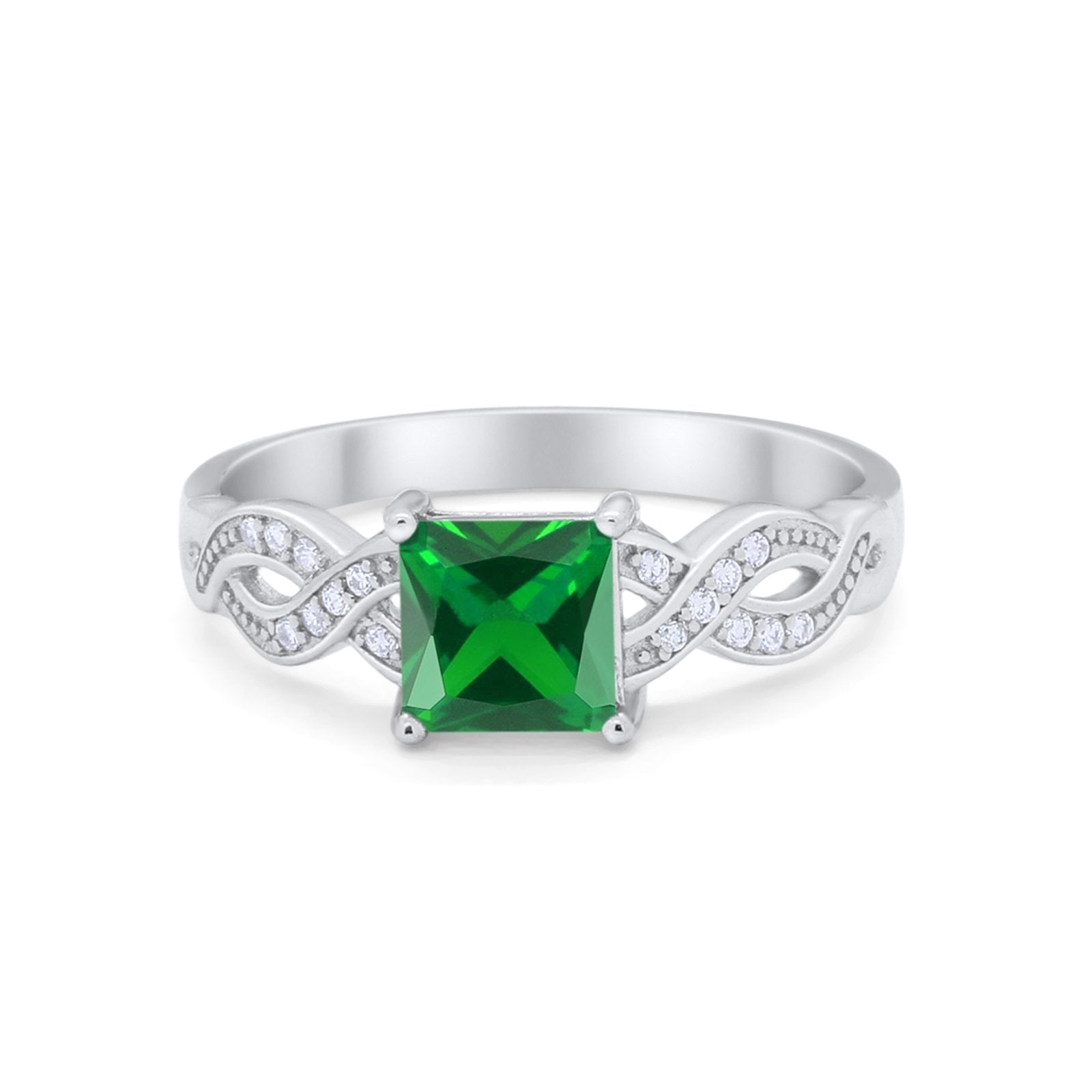 Solitaire Infinity Shank Ring Princess Cut Simulated Green Emerald CZ 925 Sterling Silver