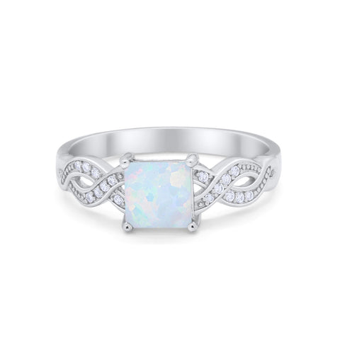 Solitaire Infinity Shank Ring Princess Lab White Opal 925 Sterling Silver