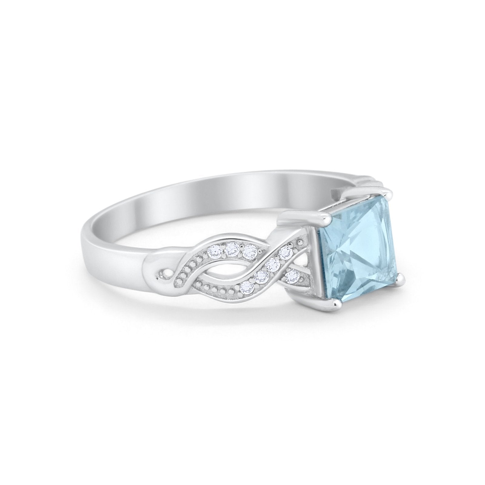 Solitaire Infinity Shank Ring Princess Cut Simulated Aquamarine CZ 925 Sterling Silver