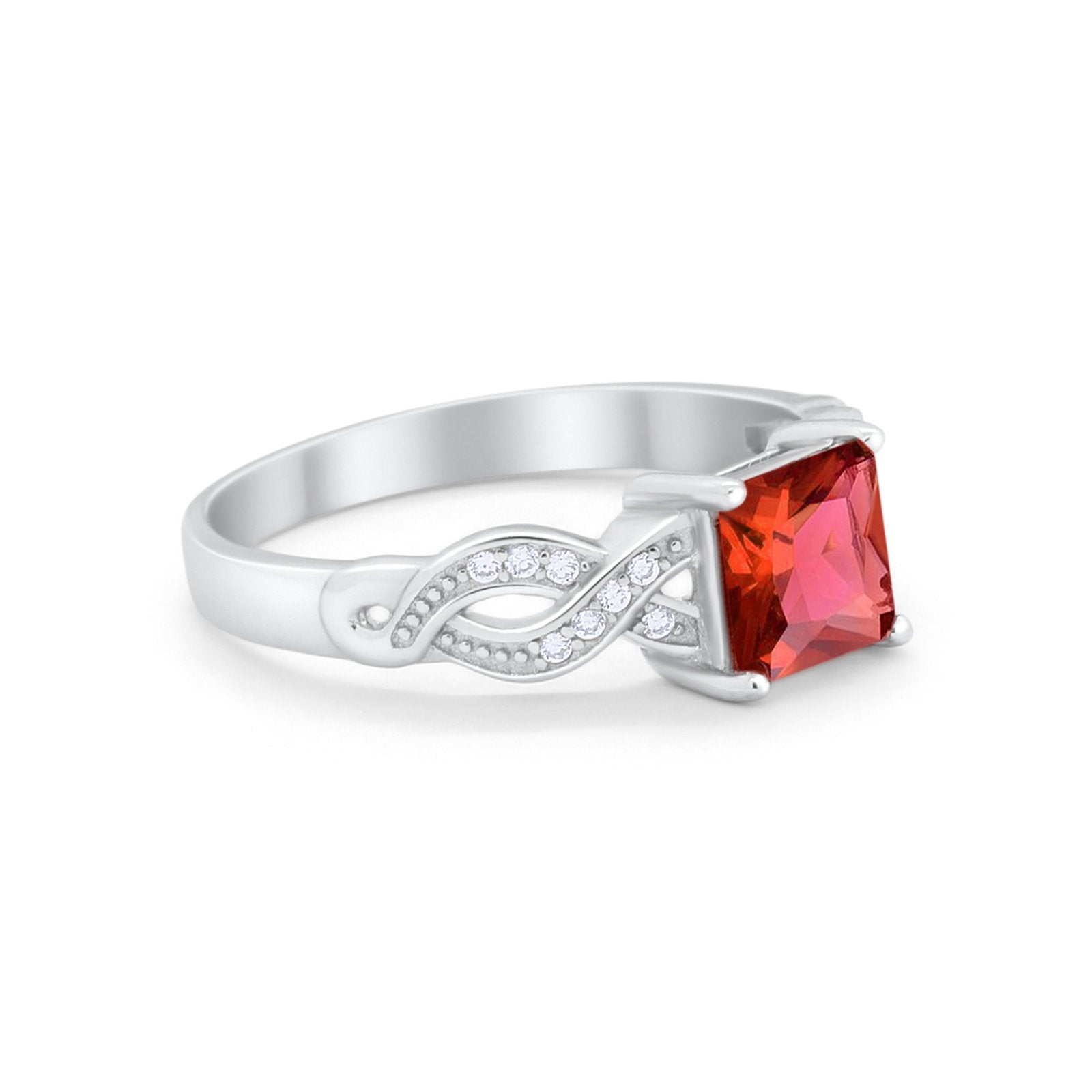 Solitaire Infinity Shank Ring Princess Cut Simulated Garnet CZ 925 Sterling Silver
