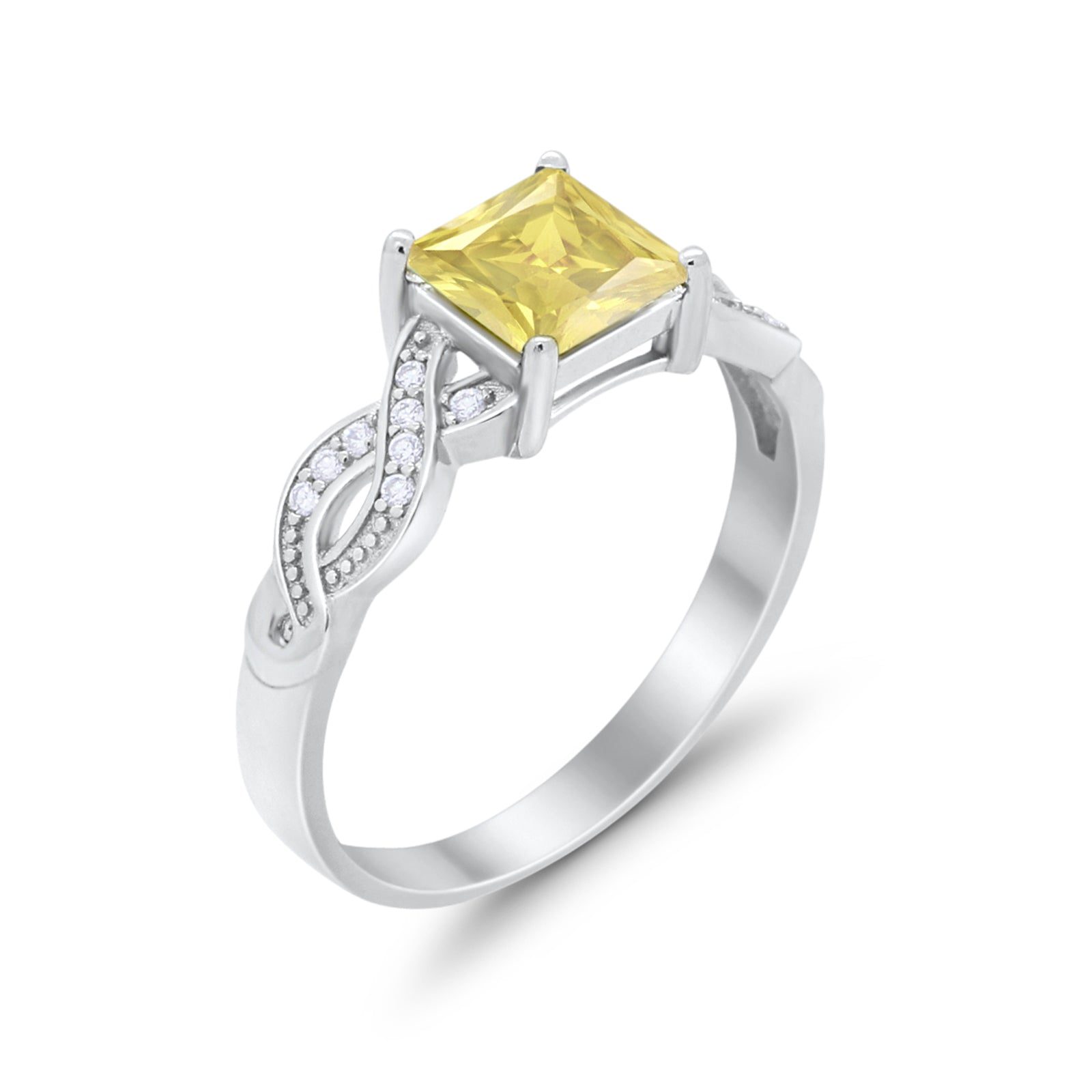 Solitaire Infinity Shank Ring Princess Cut Simulated Yellow CZ 925 Sterling Silver