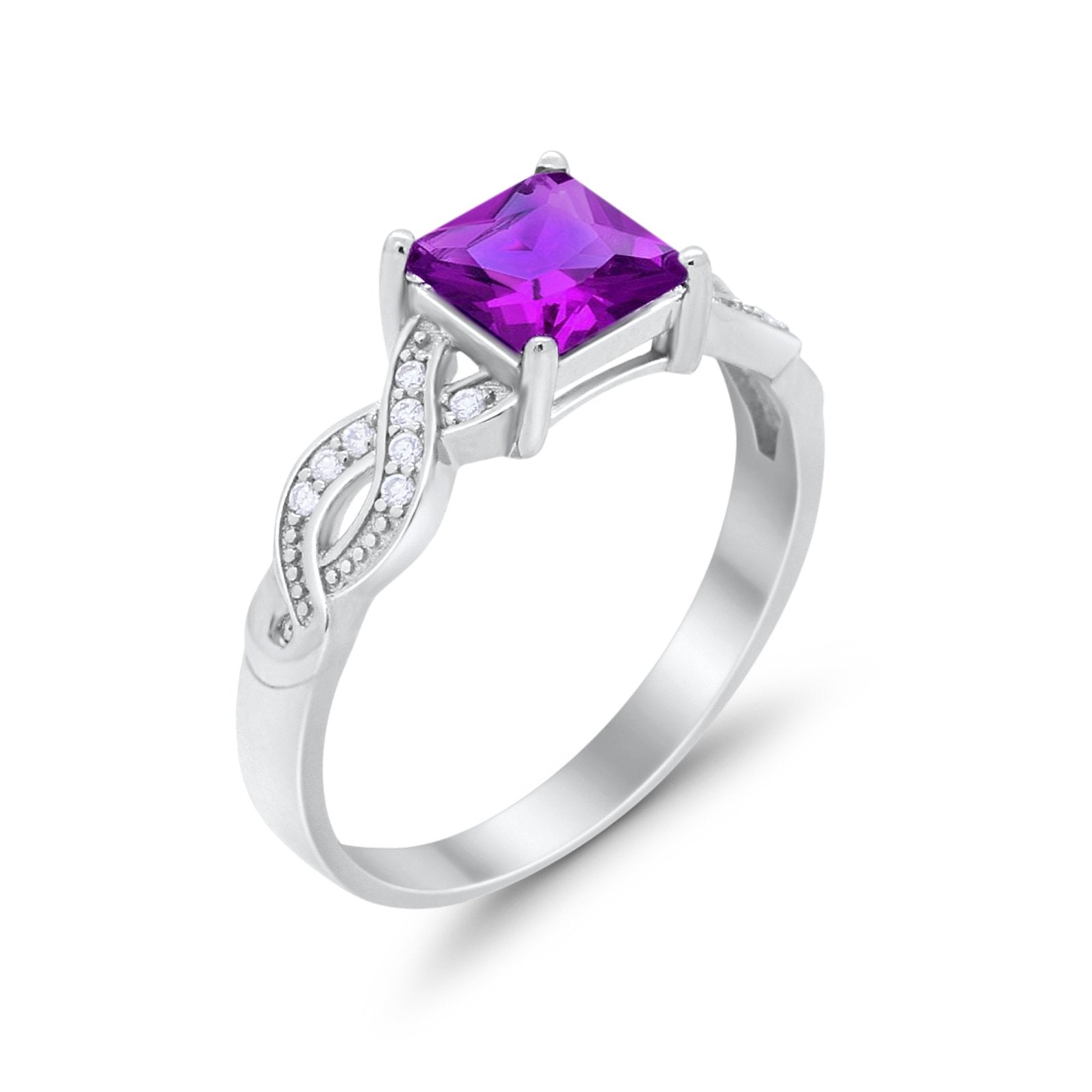 Solitaire Infinity Shank Ring Princess Cut Simulated Amethyst CZ 925 Sterling Silver