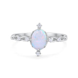 Dainty Oval Art Wedding Ring Lab White Opal 925 Sterling Silver