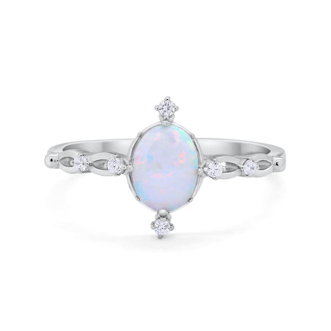Dainty Oval Art Wedding Engagement Ring Round Lab White Opal 925 Sterling Silver