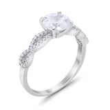Infinity Shank Engagement Bridal Ring Round Simulated CZ 925 Sterling Silver