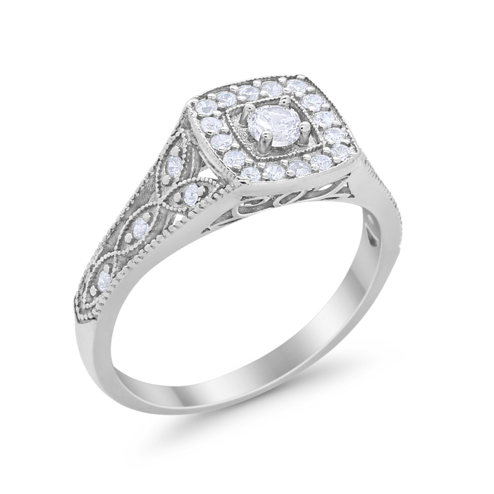Art Deco Bridal Engagement Ring Simulated CZ 925 Sterling Silver