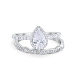 Teardrop Wedding Ring Pear Round Simulated CZ 925 Sterling Silver