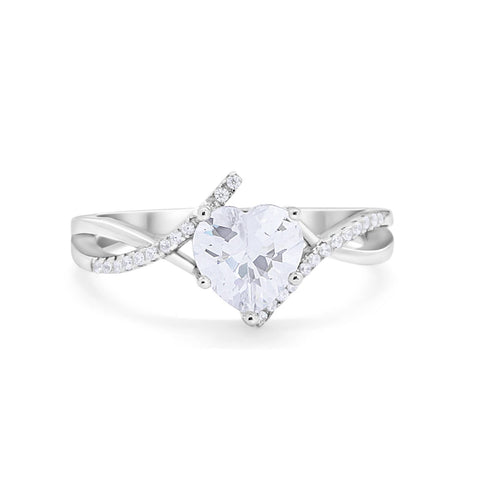 Twisted Heart Shank Promise Ring Simulated Cubic Zirconia 925 Sterling Silver
