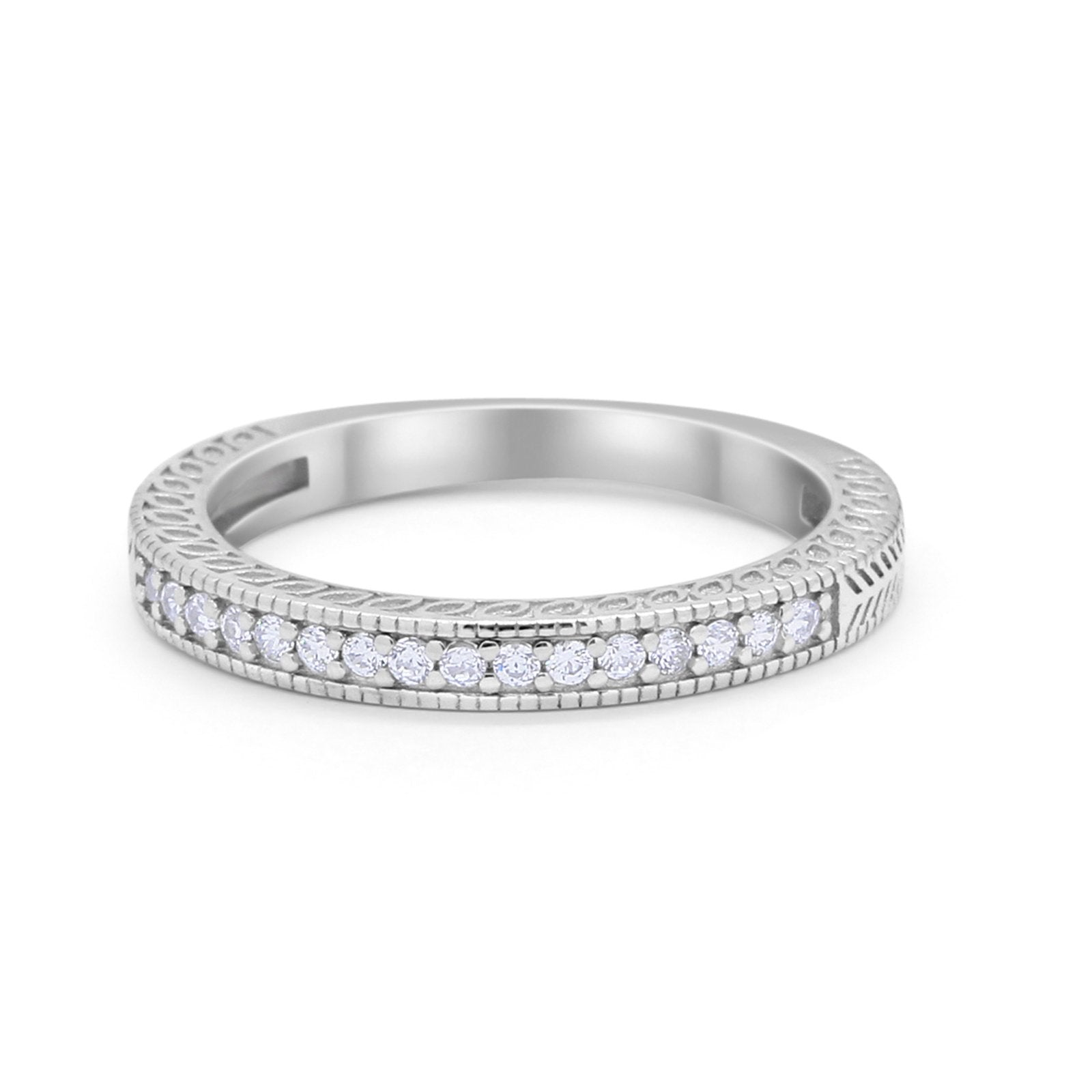 Half Eternity Wedding Band Ring Round Simulated Cubic Zirconia 925 Sterling Silver
