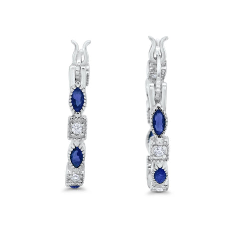 Art Deco Hoop Earrings Marquise Round Simulated Blue Sapphire CZ 925 Sterling Silver
