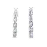 Art Deco Hoop Earrings Marquise Round Simulated CZ 925 Sterling Silver