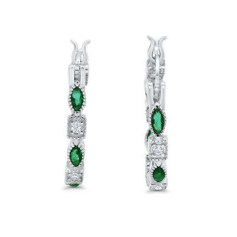 Art Deco Hoop Earrings Marquise Round Simulated Green Emerald CZ 925 Sterling Silver